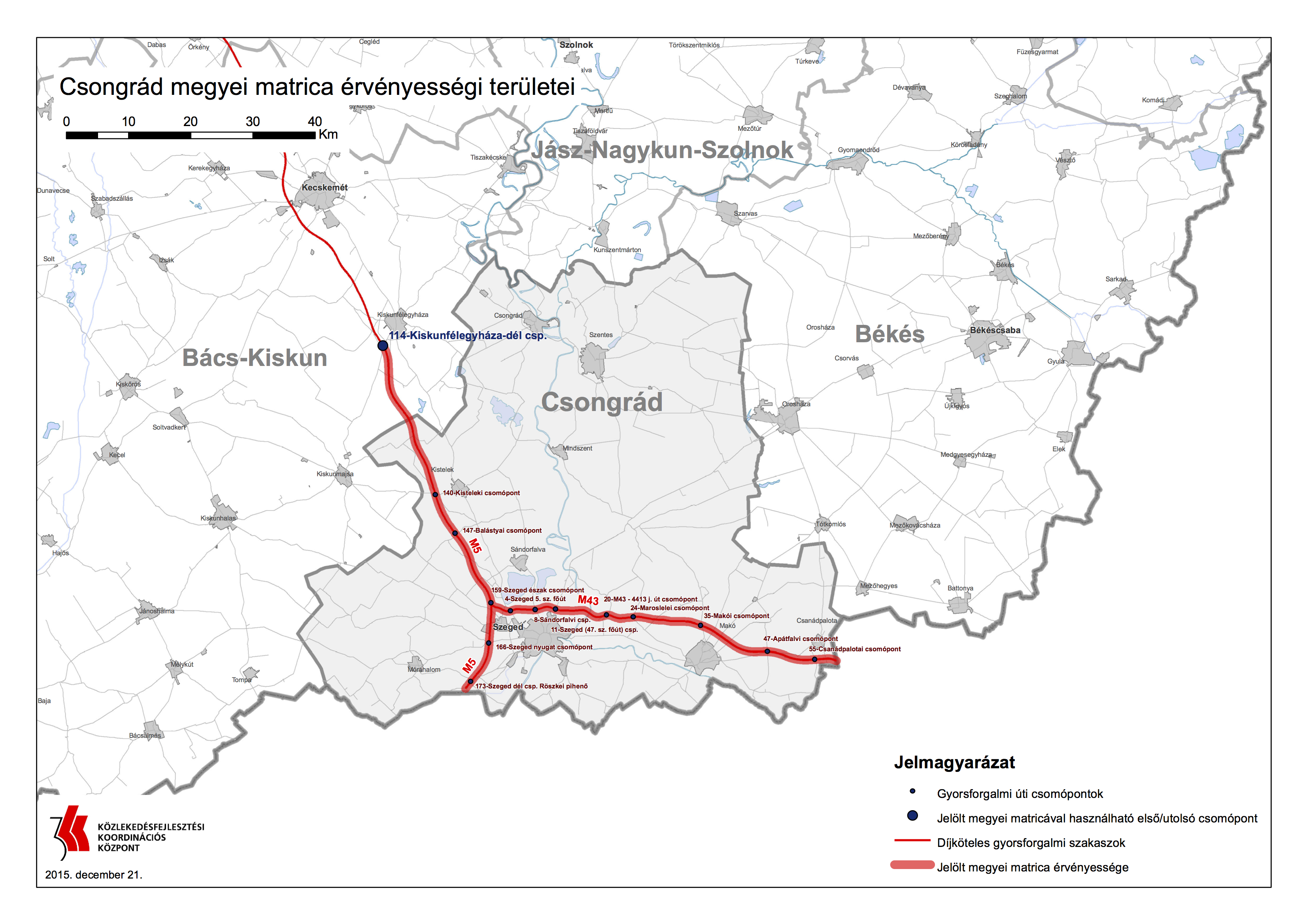 magyarország térkép csongrád megye Autó és Stílus Online   Újabb gyorsforgalmi utak váltak fizetőssé  magyarország térkép csongrád megye