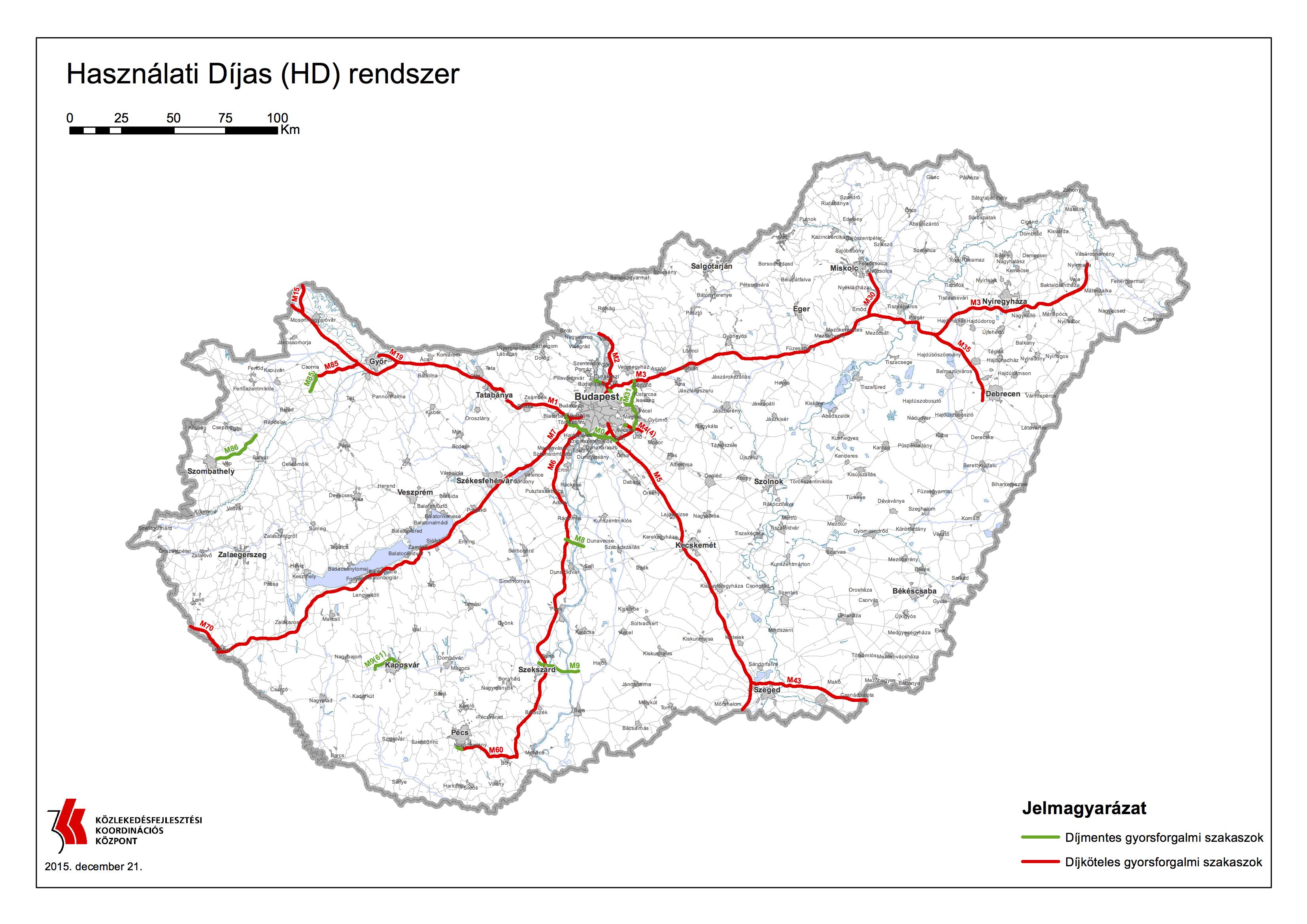 útdíj térkép magyarország Autó és Stílus Online   Újabb gyorsforgalmi utak váltak fizetőssé  útdíj térkép magyarország